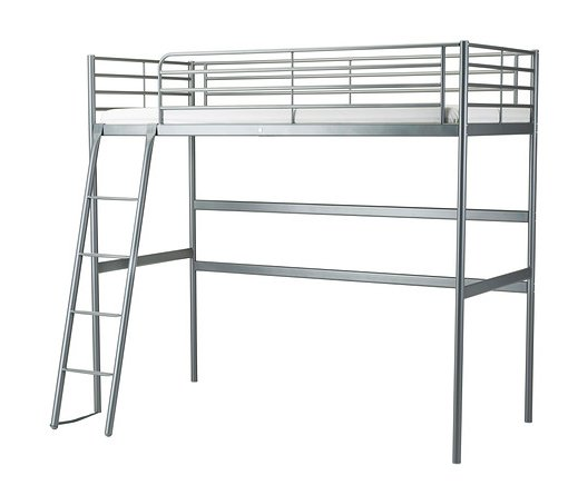 Ikea silver metal loft bed